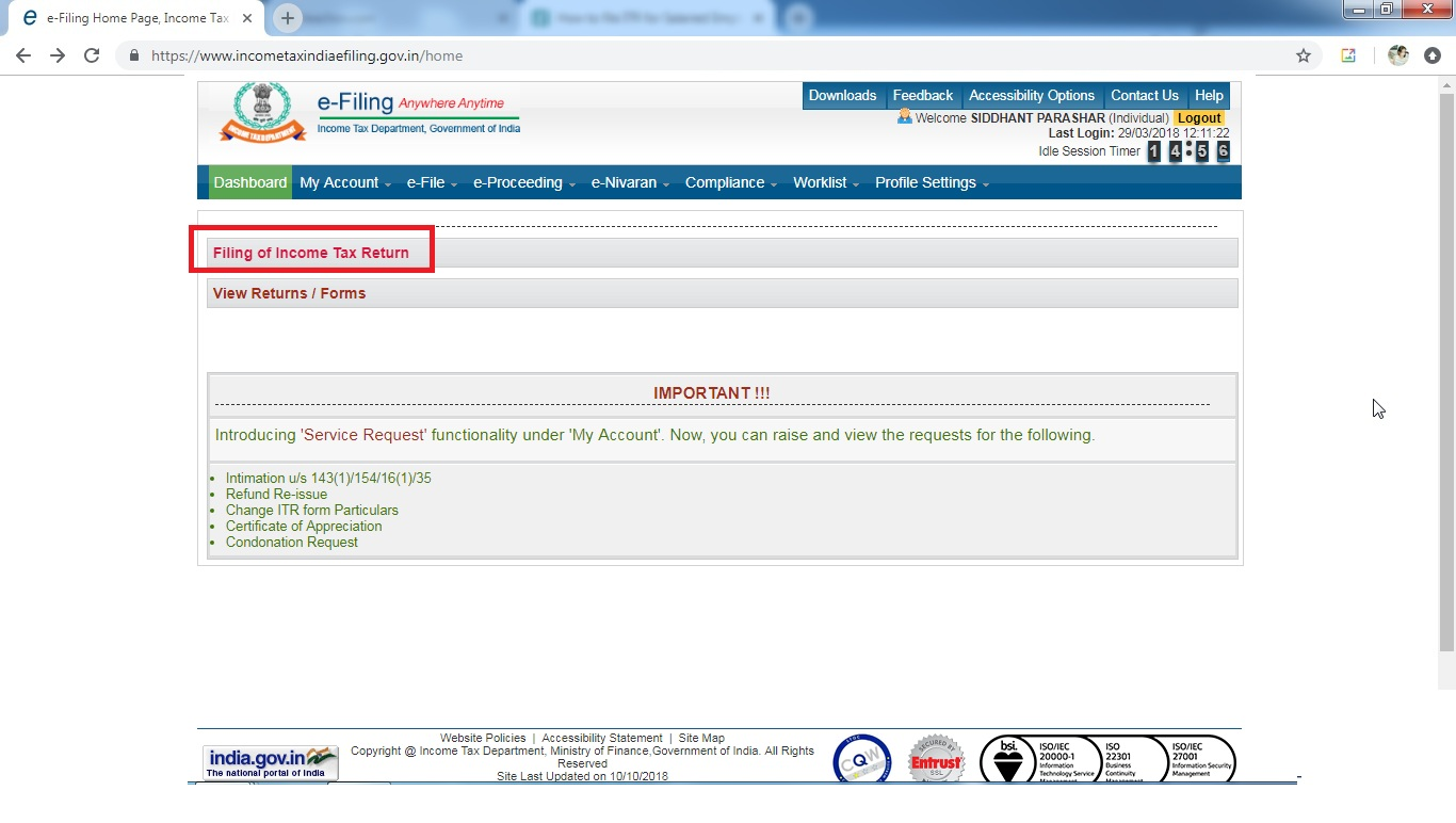 2. Click Filling of Income tax return.jpg