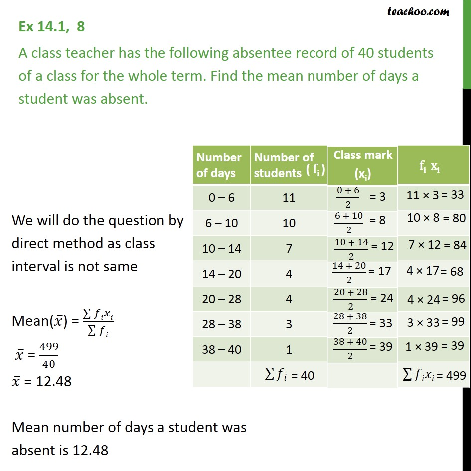 Ex 14.1, 8 - A class teacher has the absentee record of - Mean