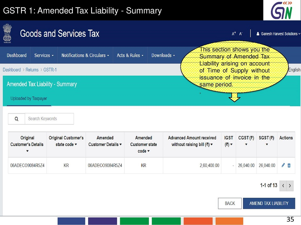 35 GSTR 1 Amended Tax Liability -Summary This section shows you the Summary of Amended Tax Liability arising on account of Time of Supply without issuance of.jpg