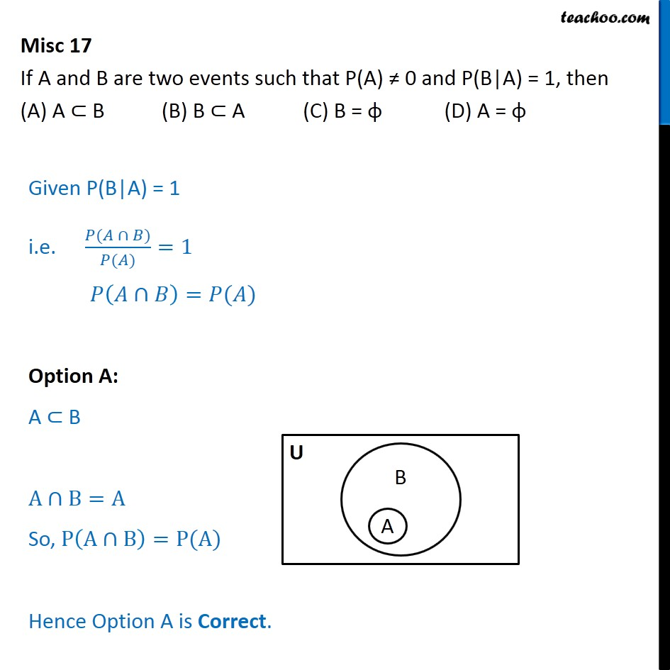 Misc 17 - If P(B|A) = 1 - Chapter 13 Class 12 Probability CBSE - Conditional Probability - Values given