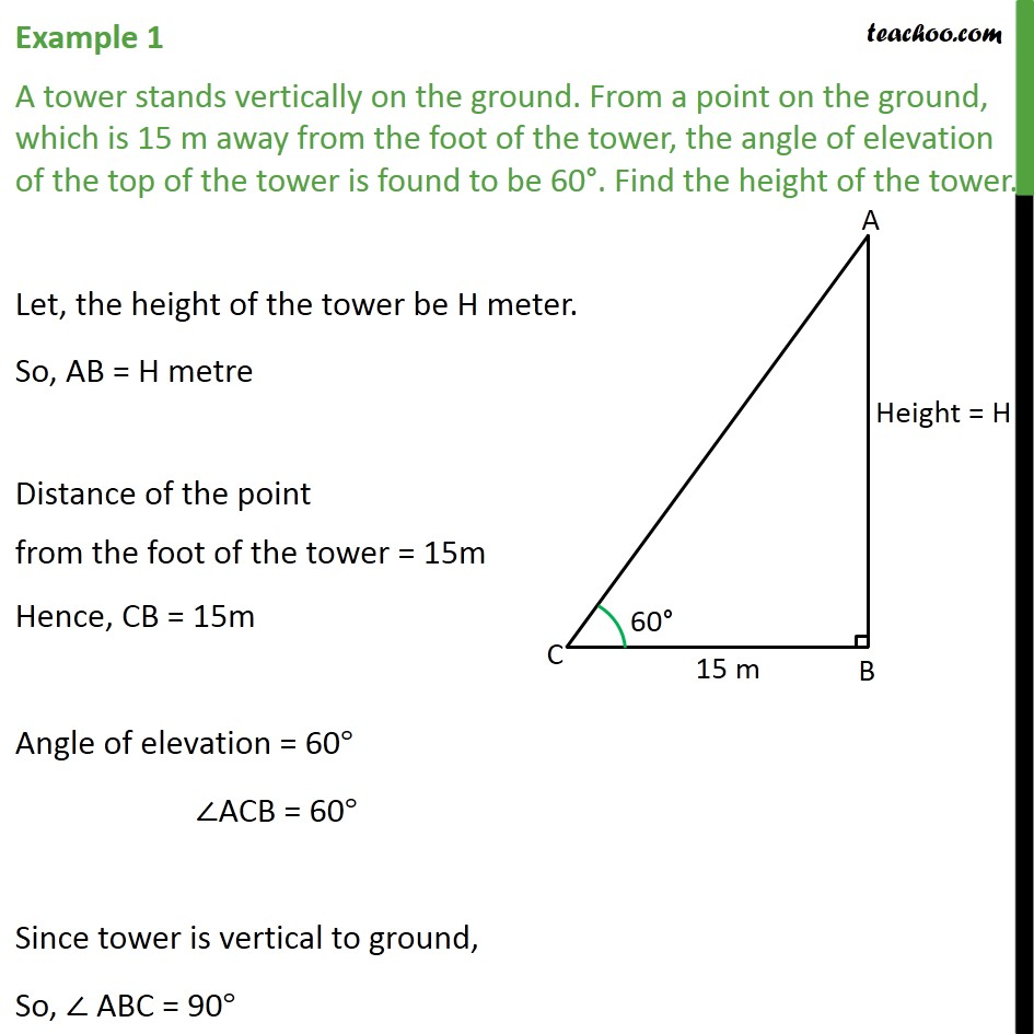 Example 1 - A tower stands vertically on the ground. From - Questions easy to difficult