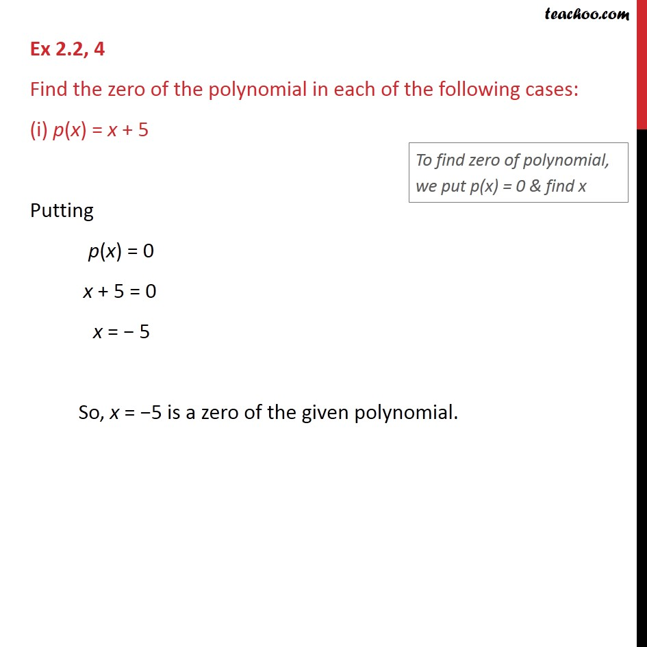 Ex 2.2, 4 - Find the zero of the polynomial in each of - Finding Zeroes of a polynomial