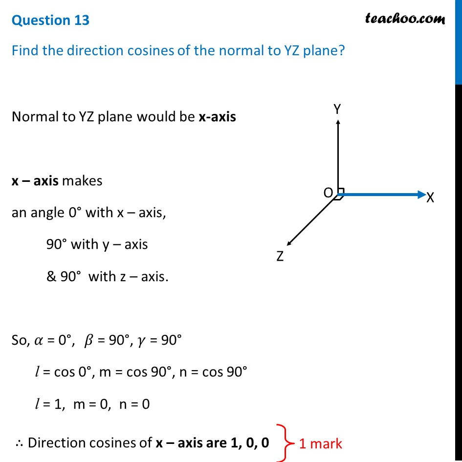 Find the direction cosines of the normal to YZ plane? [Video]