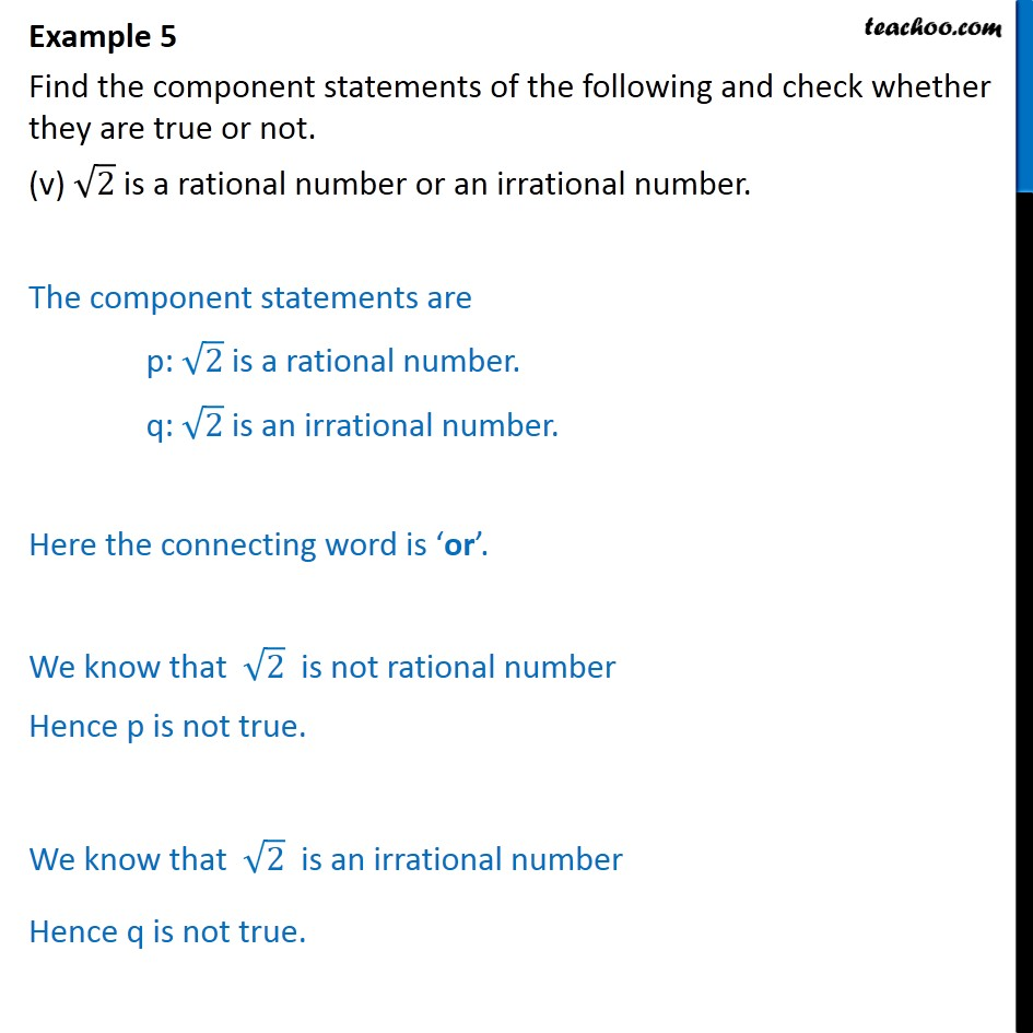 Example 5  - Chapter 14 Class 11 Mathematical Reasoning - Part 5