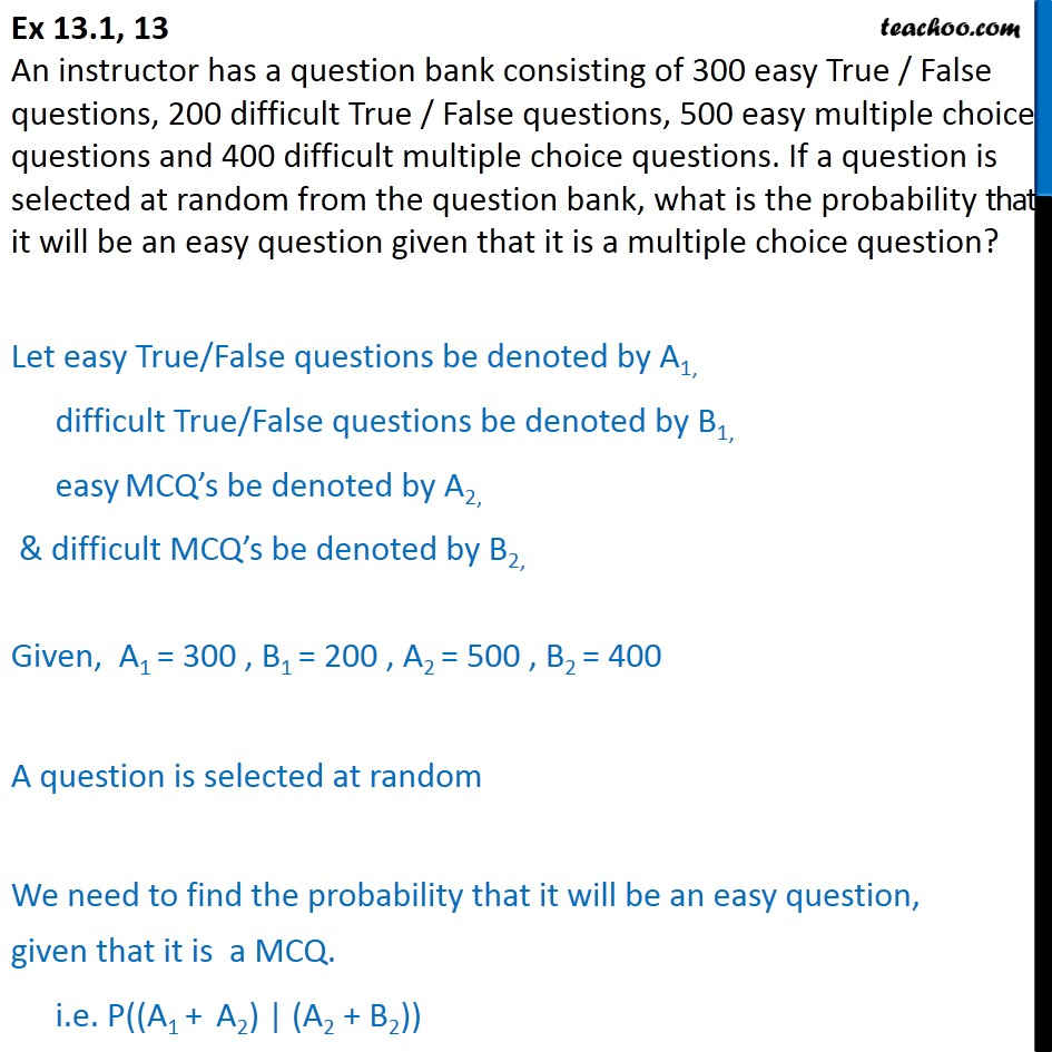 Ex 13.1, 13 - An instructor has a question bank of 300 easy - Ex 13.1