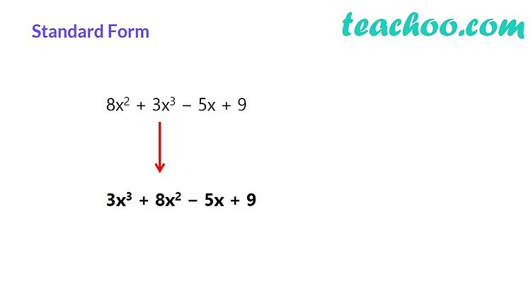 standard form of polynomials  examples and videos  teachoo